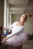 Portrait of young beautiful ballerina training. Beautiful young ballerina training, portrait Stock Images
