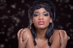Portrait of a young beautiful black woman stock photography