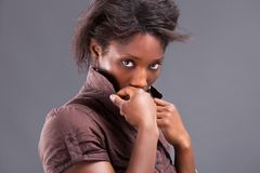 Portrait of a young beautiful black woman Stock Images