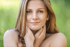 Portrait of young beautiful blond woman royalty free stock photography