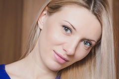 Portrait of young beautiful blond woman - head shot Royalty Free Stock Photos