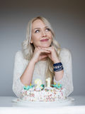 Portrait of a young beautiful blonde girl on birthday Stock Photography