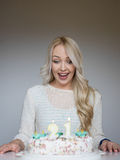 Portrait of a young beautiful blonde girl on birthday Royalty Free Stock Images