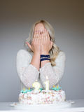 Portrait of a young beautiful blonde girl on birthday Stock Image