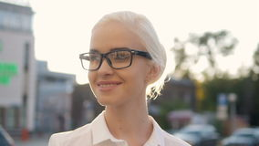 Portrait of Young Beautiful Blonde Woman In The City Smiling In Sunset Backlight Royalty Free Stock Photography