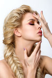 Portrait of young beautiful blonde woman with creative make-up Royalty Free Stock Photos