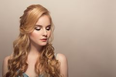 Portrait of young beautiful blonde woman. royalty free stock photos
