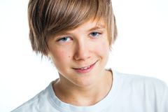 Portrait of young beautiful boy in white Stock Photography