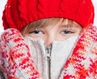 Portrait of young beautiful boy in winter style Royalty Free Stock Photography