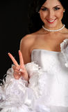 Portrait of the young beautiful bride stock photography