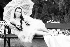 Portrait of young beautiful bride Stock Photos