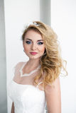Portrait of young beautiful bride over white background Royalty Free Stock Photos