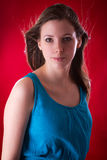Portrait of young beautiful brunette Stock Image