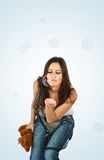 Portrait of the young beautiful brunette Royalty Free Stock Photos