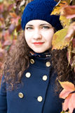 Portrait of young beautiful brunette in beret Royalty Free Stock Images