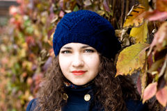 Portrait of young beautiful brunette in beret Royalty Free Stock Photography