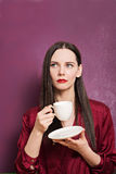Portrait of young beautiful brunette with  coffee Stock Photos