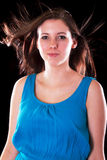 Portrait of young beautiful brunette over black Royalty Free Stock Photo