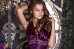 Portrait of the young beautiful brunette in a violet dress royalty free stock photos