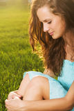Portrait of young beautiful brunette woman Royalty Free Stock Photos