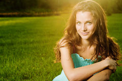 Portrait of young beautiful brunette woman Royalty Free Stock Images