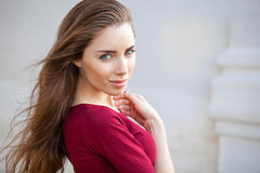 Portrait of a young beautiful brunette woman. Close up, portrait of a young beautiful brunette woman Stock Photo