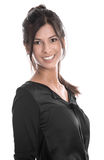 Portrait of a young beautiful business woman in a black blouse stock images