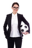 Portrait of young beautiful business woman with football ball is Stock Photo