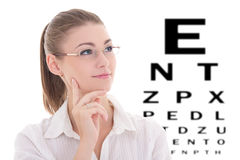 Portrait of young beautiful business woman in glasses and eye te Stock Images