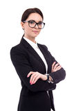 Portrait of young beautiful business woman isolated on white Stock Photography