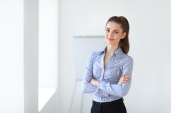 Portrait of young beautiful business woman in the office royalty free stock photos