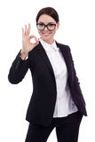 Portrait of young beautiful business woman showing ok sign isola. Ted on white background Royalty Free Stock Images