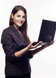 Portrait of young beautiful businesswoman with notebook Royalty Free Stock Image