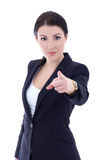 Portrait of young beautiful businesswoman pointing at you isolat Royalty Free Stock Photography