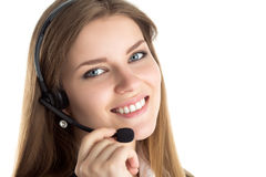 Portrait of young beautiful call center worker Stock Images