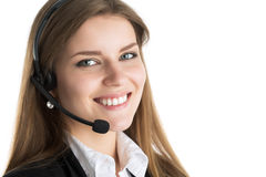 Portrait of young beautiful call center worker Royalty Free Stock Photo