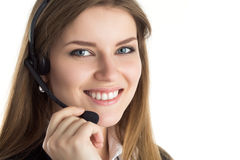 Portrait of young beautiful call center worker Stock Image