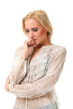 Portrait of young beautiful caucasian woman feeling sick. Over white background Stock Photo