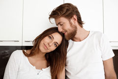 Portrait of young beautiful couple smiling looking at camera. Stock Images