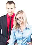 Portrait of a young beautiful couple in studio Royalty Free Stock Photo