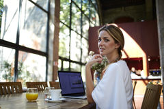 Portrait of a young beautiful elegant lady relaxing after work on net-book while sitting in coffee shop interior Royalty Free Stock Image