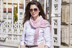 Portrait of young beautiful fashion woman outdoor Royalty Free Stock Photos