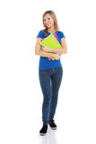 Portrait of a young beautiful female student with workbook. Royalty Free Stock Images