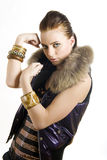 Portrait of a young beautiful fighter city girl Stock Images