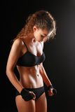 Portrait of young beautiful fitness woman. Stock Photos