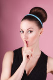 Portrait of young beautiful fresh slim girl with clean make-up and hair bun Stock Images