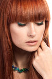 Portrait of young beautiful ginger woman Stock Photography