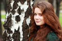 Portrait of the young beautiful girl. On a background of leaves of a birch Stock Photography