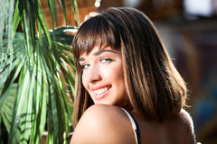 Portrait of a young beautiful girl. With a blurry background stock photo