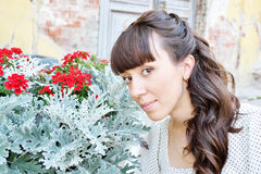 Portrait of young beautiful girl. With flowers Stock Photography